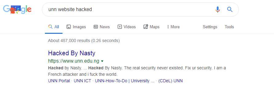 UNN website got hacked by Nasty