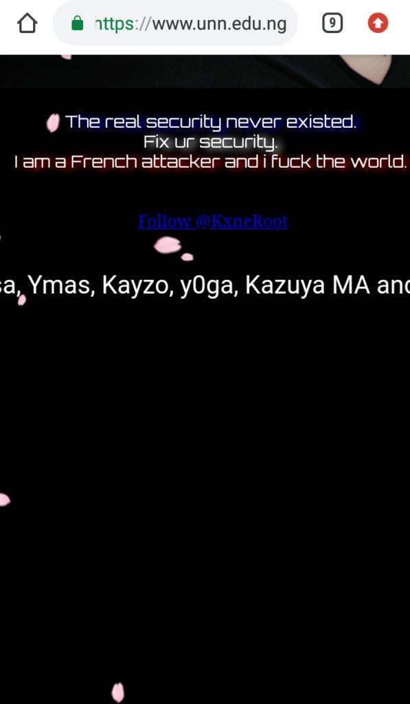UNN website got hacked by French hacker