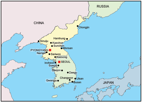 Cities in South Korea Map